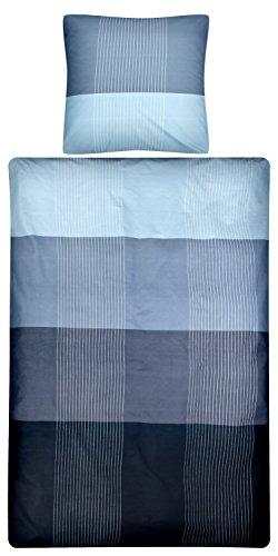 Aminata – gestreifte Bettwäsche 135x200 cm Baumwolle + Reißverschluss zum Wenden Farbverlauf Wendebettwäsche Blau Hellblau Streifen kariert Karos Bettwäscheset Ganzjahres Bettbezug Normalbettgröße (Gestreifte Bettwäsche)