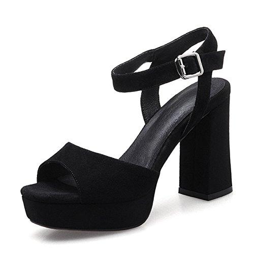 Rom grobe sandalen/Leder nacktfarben high heels/Wasserdichte taiwan fisch mund schuhe wort wölbung schuhe A