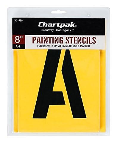 Chartpak Lettre Pochoirs de peinture, A–Z, 20,3cm H, 26par lot (01580) Stencil à lettre 8 inches Manila