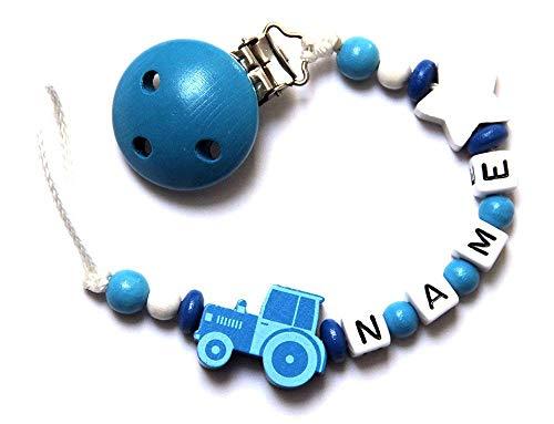 Baby Schnullerkette aus Holz mit Wunschname. Weiß Blau mit Traktor (Wunschname)
