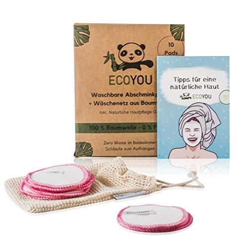 EcoYou Abschminkpads Waschbar PINK ♻ Wiederverwendbare Wattepads aus Baumwolle INKL. Wäschenetz ♻ 10 STÜCK Zero Waste Nachhaltige Abschminktücher + Hautpflege Guide ♻ Make Up Entferner Pads