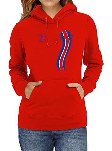 Costa Rica Weltmeisterschaft 2018#33 Premium Hoodie Fan Trikot Fußball WM Nationalmannschaft Frauen Kapuzenpullover, Farbe:Rot;Größe:L