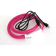 Silicón del collar LED USB collar de perro luminoso para Perro Recargable vía USB (tamaño S-L 18-65 cm se puede acortar) en rosa por el PRECORN marca