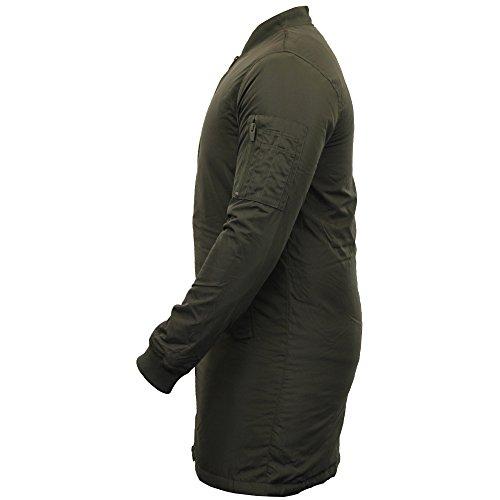 Herrenjacke Brave Soul MA1 Harrington Mac Trench Langer Mantel Gepolstert Gefüttert Winter Khaki - ROBINSONL