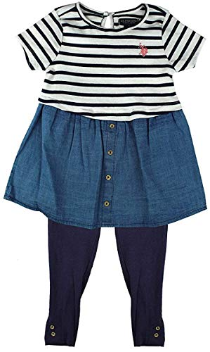 Mädchen US Polo Nautische Streifen Kleid Top & Leggings Kostüm Größen von 24 Monate bis 6 Jahre - Mehrfarbig, 4 - Größe 24 Monate Kostüm