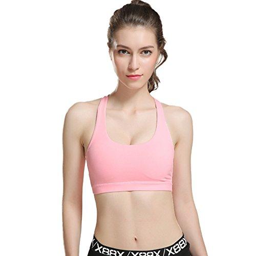 Reefa Soutien-gorge/Sous-vêtements/Brassière Sportive/Bra/Sous-vêtements de Sport Femme Pour Fitness Jogging Yoga Course(S/M/L) D-Rose