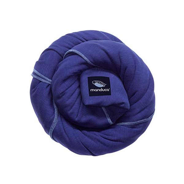 manduca Sling > Stretchy Baby Wrap & Baby Carrier < GOTS Organic Certified Cotton Baby Product, Suitable for Newborns & Infants from Birth up to 15kg (Royal/Blue, 5,10m x 0,60m) Manduca Baby sling in hip & trendy slub jersey. 100% organic cotton, soft, cosy & lightweight knitwear. Fancy effect yarns give the fabric its typical melange look. Stretchy yet stable for optimal fit and comfort: the bi-elastic knitwear wears as light as your favorite shirt, the perfect amount of stretch supports you and your baby without restricting Easy to tie thanks to colour contrasting seams & middle marker. Instructions for three carrying positions: pocket front carry pre-tied (for on the go & for men), wrap cross carry (optimal support) and hip seat/ hip wrap cross carry (with a twist) 1