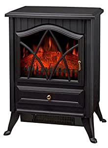 FoxHunter New Log Burning Flame Effect Electric Stove Fire Place Fires Fireplace Heater 1850W Max Output 2 Heat Settings Black Cast Iron Effect Finish Plastic Freestanding