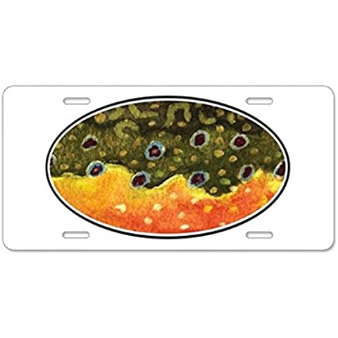 CafePress Brook Trout pesca con mosca aluminio placa de licencia – estándar Multi-color