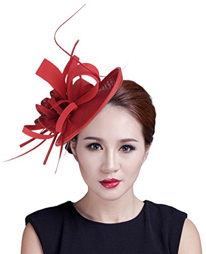 Lukis Women Feather Flower Hat Party Hair Clip Wedding Bridal Fascinator Costume Pin