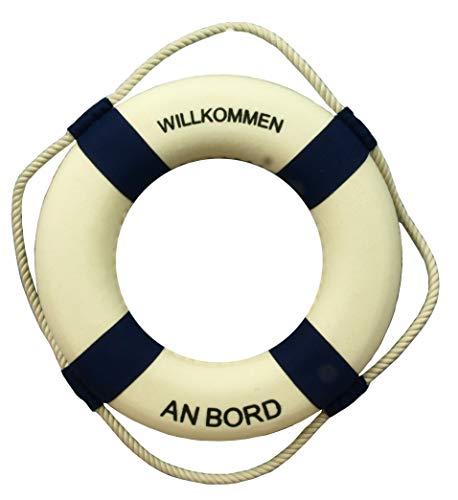 Küstenambiente Deko Rettungsring 30cm *WILLKOMMEN AN Bord* blau/weiß Maritime Dekoration (PF) (An Bord Rettungsring Willkommen)
