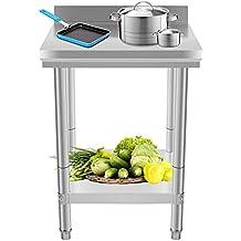 Chaneau Table De Travail Cuisine Table De Cuisine Haute 60 x 60 x 80 cm Plan De Travail Cuisine (Table De Travail)