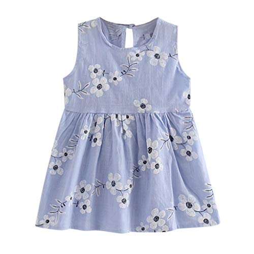 YWLINK Kleinkind MäDchen Sommer Prinzessin Kleid Mit Blume Stickerei Baby Party Hochzeit ÄRmellose Bequem Süß Kleider(Blau,120)