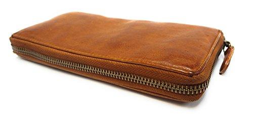 Lara01 - Geldbörse Geldbeutel Portemonnaie für Damen in Echt Leder Cognac (Marc-stil Frühling)