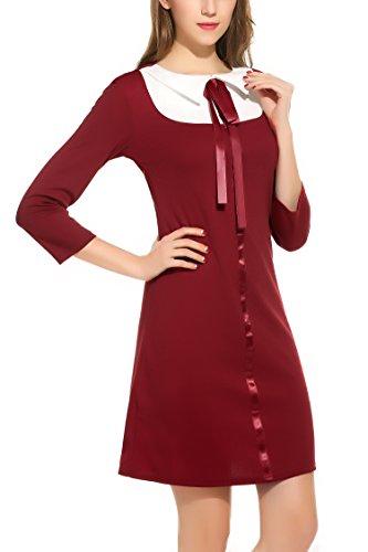 Zeagoo Damen 3/4 Ärmel Rundhals 60s Vintage Kleid Rockabilly Festliche Kleider Freizeitkleid Weinrot - 3