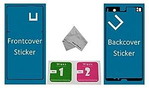 Für Sony Xperia Sticker Set Front + Rückseite Backcover doppelseitiger Kleber Glue Z3 D6603 D6616 D6633 D6643 D6653 D6708 zum befestigen von LCD front und Akkudeckel Backcover inkl. mikrofaser Staubtuch und 2er Set Wet & Dry Reinigungs Pads MMOBIEL