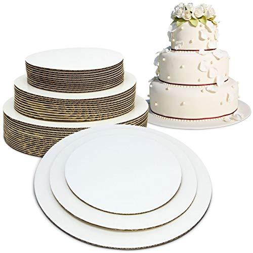 Fit Meal Prep [30er Pack 6 8 10-Zoll-Runde Tierd Kuchen Boards Combo - Fett Proof Karton Einweg lagerter Kuchen Pizza Kreis Ausgebogte stapelbare Tart Dekorieren Standfuß 6