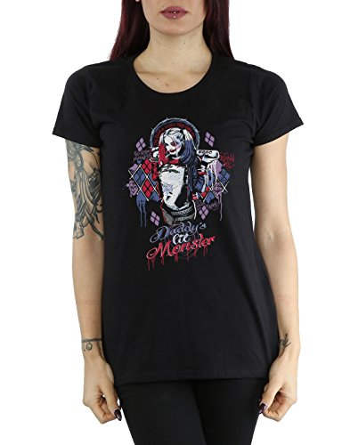 Suicide Squad Femme Harley Quinn Daddy's Lil Monster T-Shirt Noir