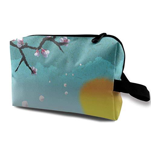 Travel Makeup Cosmetic Bag Brush Pouch Peach Blossom Zipper Pen Organizer Carry Case travel Makeup Bag - Peach Blossom Dusche