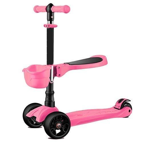 Der Geschmack von zu Hause Kinder faltender Roller 1 2 Jahre altes Baby kann Vier Runden des Blitzes sitzen 3 Jahre alte Kinderanfänger (Farbe : Rosa) -