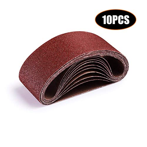 Nastro abrasivo, tacklife 10 pezzi nastri abrasivi 75x457mm per levigatrice a nastro, carte abrasive grana da (2x40/ 60/80/ 100/120) per levigare legno, metallo asb01a