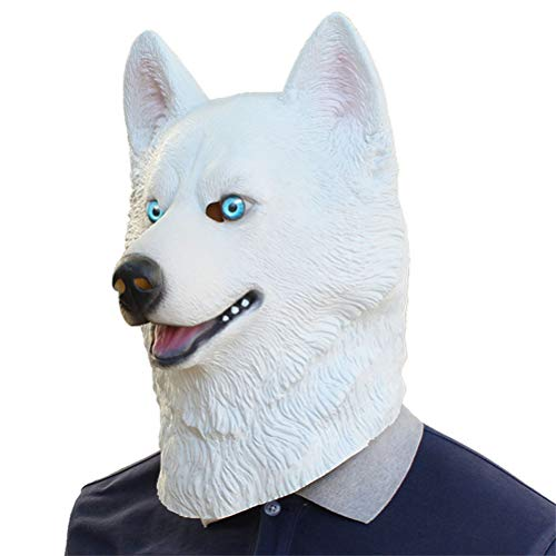 YLJYJ Hund Maske, Halloween Hund Gesichtsmaske, Neuheit Deluxe Kostüm Party Latex Tierkopf Maske für Erwachsene, White