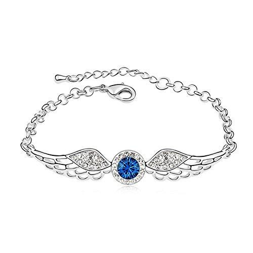 YOIL Elegant und Lina Dekoration Heißer Verkauf Kristall Armband Engelsflügel Diamanten Schmuck für Valentinstag Geschenk (Dunkelblau)