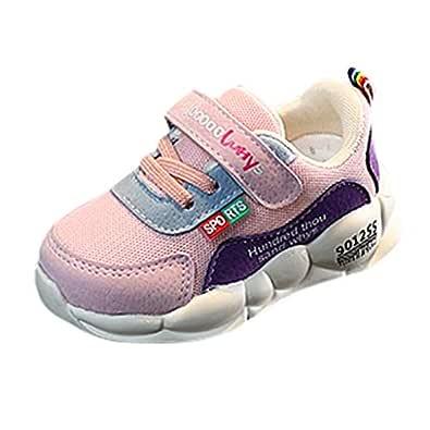 Rosatro Kids Sports Shoes Fashion Boys Girls Bohemian Shoes Casual Flat Children Mesh Sneaker (Pink,Age: 15-18Months (21))