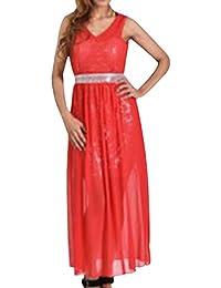 90ae2bd2eb9a Guiran Donna Elegante Senza Maniche V Collare Abito da Sera Damigella Cocktail  Cerimonia Lunghi Vestito Rosso