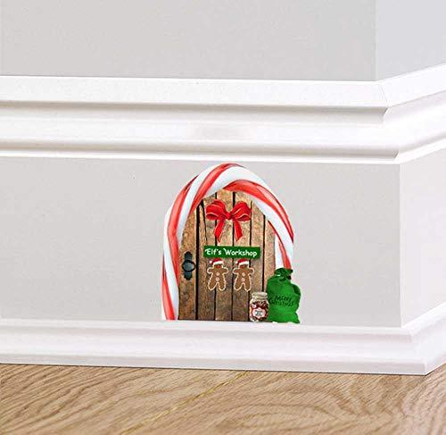 60 Second Makeover Limited Volle Farbe Weihnachtselfe Schreibtisch Holz Tür Wandsticker Aufkleber Chlaussack Zuckerstange Sockelleiste Festliche Wandsticker