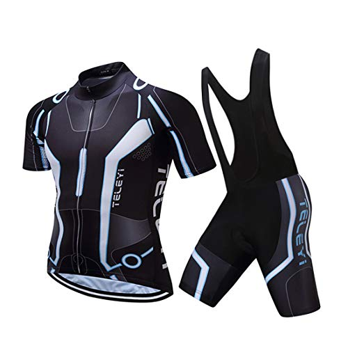 GWELL Herren Radtrikot Atmungsaktive Fahrradbekleidung Set Trikot Kurzarm + Radhose mit Sitzpolster für Radsport Schwarz (Set mit schwarzer Trägerhose) XL