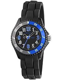 Tikkers Jungen Quarz-Uhr mit schwarzem Zifferblatt Analog-Anzeige und schwarz Silikon Strap tk0116