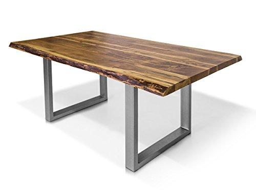 moebel-eins DALIN Baumkantentisch Esstisch Akazie Holztisch Massivholztisch Esszimmertisch Tisch Baumkante Metallfuß 220 x 100 cm
