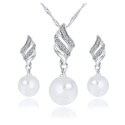 Scpink Vendita liquidazione, Svendita Offerte Collana + Orecchini Gioielli Set Donna a forma di spirale a forma di perla Orecchini e collana di gioielli (Argento)