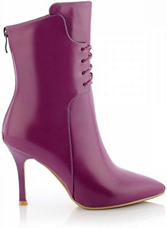 DIDIDD Botas de Mujer de Tacón Alto en Fino de Gama Alta con Zapatos de Mujer Puntiagudos de Alta Gama,Púrpura,39