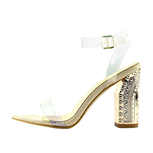 Kick Footwear - Ladies Womens Girls Perspex High Heels Clear Strap Long Lace Up Party Shoe Size Nude Patent NF289