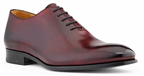 DE SCALZO Crust Leather Handpainted Reverse Patina Finish Wholecut Formal Shoes for Men