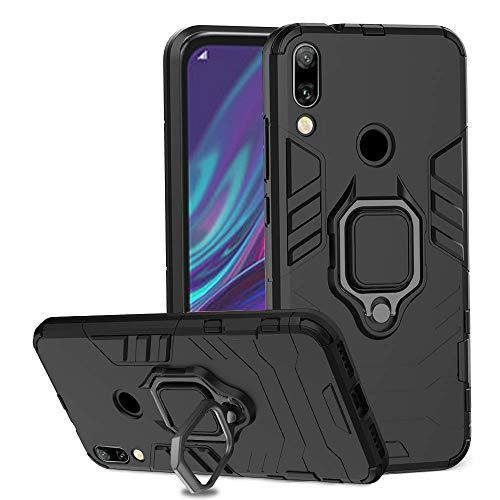 Ferilinso Hülle für Huawei Y7 Prime 2019/ Huawei Y7 Pro 2019/ Huawei Y7 2019,Hybrid robuste Rüstung Dual Layer Heavy Duty Harte PC zurück Fall mit Ring Grip Kickstand & Unterstützung (Schwarz) -