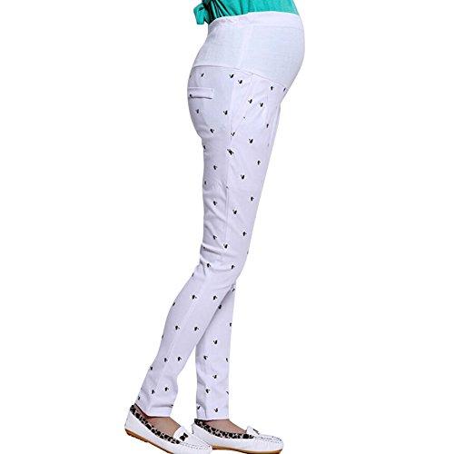 hibote enceintes Pantalons Femmes abdominales maternité haute élastiques Pantalons Leggings Belly white