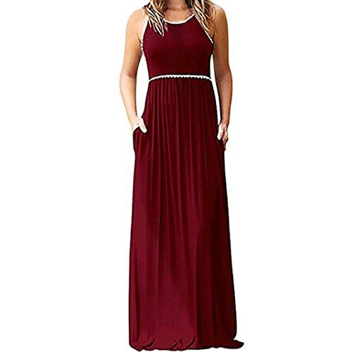 ESAILQ Damen hellblau grün rot gestreift türkis Partykleider Herbst Lange schoene Spitzenkleider suche in gestreiftes Kleider online bestellen (M,Rot)