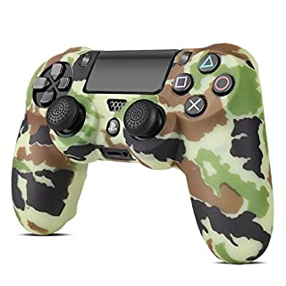 TNP PS4 / Slim / Pro Controller Skin Grip Cover Case Set - Protective Soft Silicone Gel Rubber Shell & Anti-slip Thumb Stick Caps for Sony PlayStation 4 Controller Gaming Gamepad (Camo Brown)