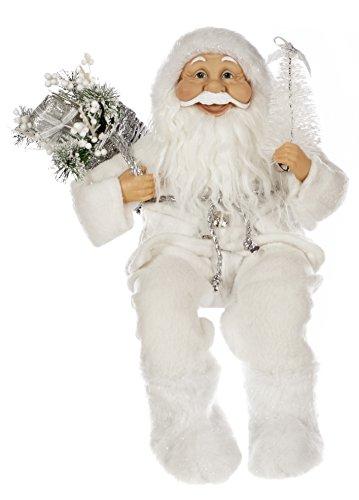 Festive productions seduto babbo natale con cuciture fiocco di neve decorazione–bianco
