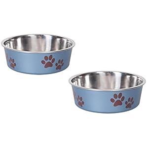 Cajou Antirutsch Napf Set blau, 2 x 300 ml ø 12 cm Futternapf und Wassernapf für Hunde / Katzen