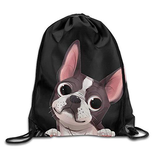 Pillow Socks Cute Boston Terrier Unisex Drawstring Backpack Travel Sports Bag Drawstring Beam Port Backpack.