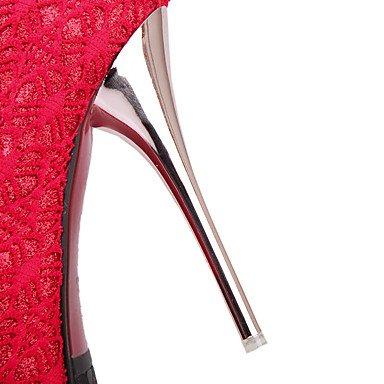LvYuan Da donna Sandali Decolleté Maglia traspirante Primavera/Autunno Matrimonio Footing Decolleté Floreale A stiletto Nero Beige Rosso12 cm e ruby