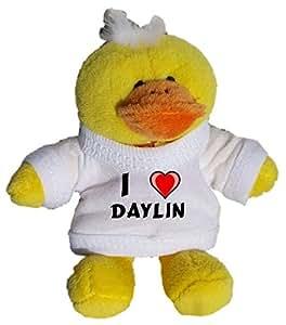Plüsch Hähnchen Schlüsselhalter mit einem T-shirt mit Aufschrift mit Ich liebe Daylin (Vorname/Zuname/Spitzname)