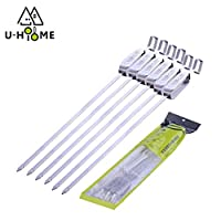 """U-HOOME Stainless Steel BBQ Skewers 18"""" Shish Kabob Skewers Long Reusable Kabob Sticks Barbecue Skewers For Grilling Heavy Duty Wide BBQ Sticks Ideal 6Pcs"""