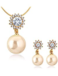 Spargz Gold Plated AD Stone Big Size Pearl Veamor Trendy Pendant Set For Women ALPS 5027