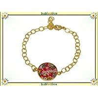 Adjustable bracelet cherry blossom Japan sakura brass gilded gold 24 carat fine resin red rose resin personalized gifts Christmas birthday wedding ceremony guests mistress Mother's Day couples