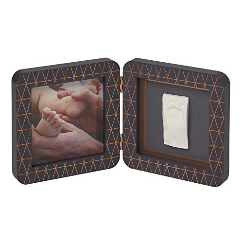 Baby Art My Baby Touch Print Frame, 2er Bilderrahmen für Foto, Hand und Fußabdruck, rund, Copper Edition dark grey, dunkelgrau (Magic Frame Photo)